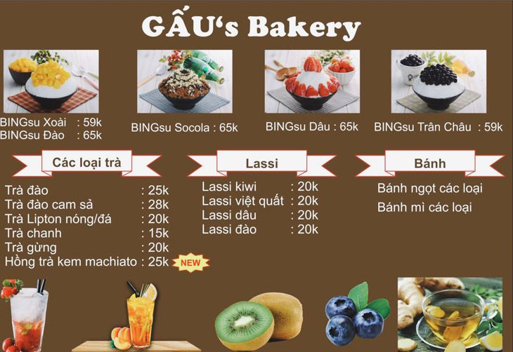 Menu Gau Bakery