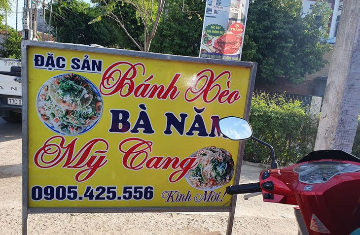 Bánh xèo Bà Năm Mỹ Cang, là một trong những quán nỗi tiếng nhất Quy Thành, với hương vị thơm ngon mà ít quán nào có đươc - Ảnh:ST