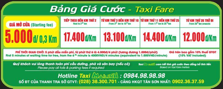 Bảng giá Taxi Mai Linh với loại xe 4 chỗ - ảnh: Mai Linh