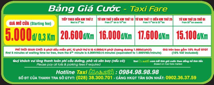 Bảng giá Taxi Mai Linh với loại xe 7 chỗ - ảnh: Mai Linh