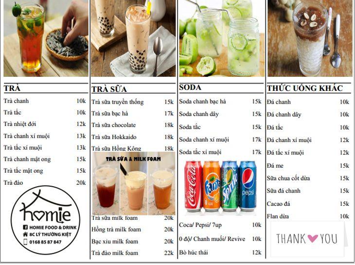 Menu Homie Food Drink rất đa dạng và đặc sắc