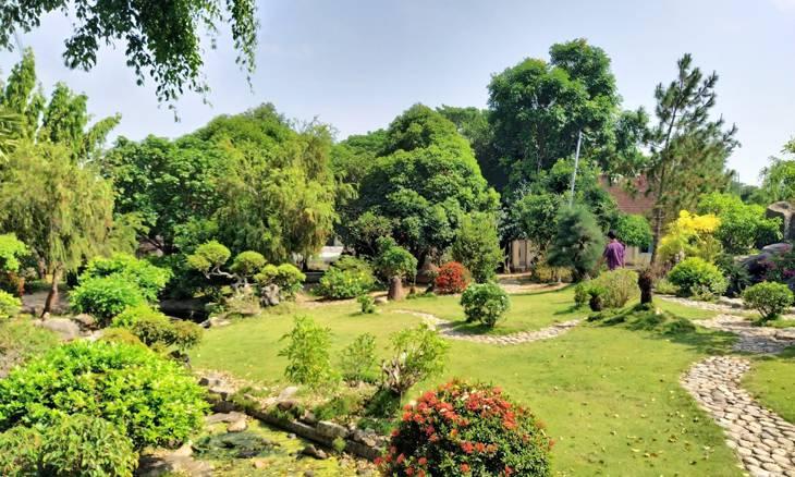 Khuôn viên yên tĩnh, thư thái ở chùa Thập Tháp - Ảnh: Sơn Ca