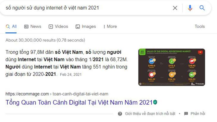 Thống kê số lượng truy cập internet vào tháng 1 năm 2021
