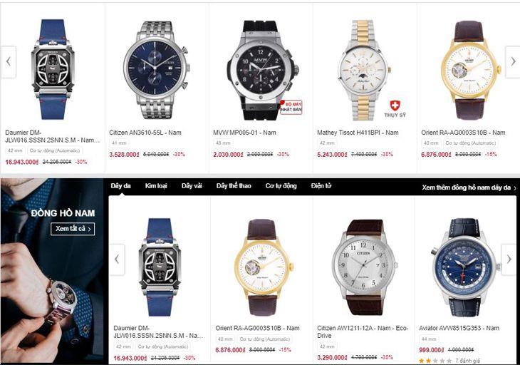 Giá cả các loại đồng hồ được niêm yết rõ ràng