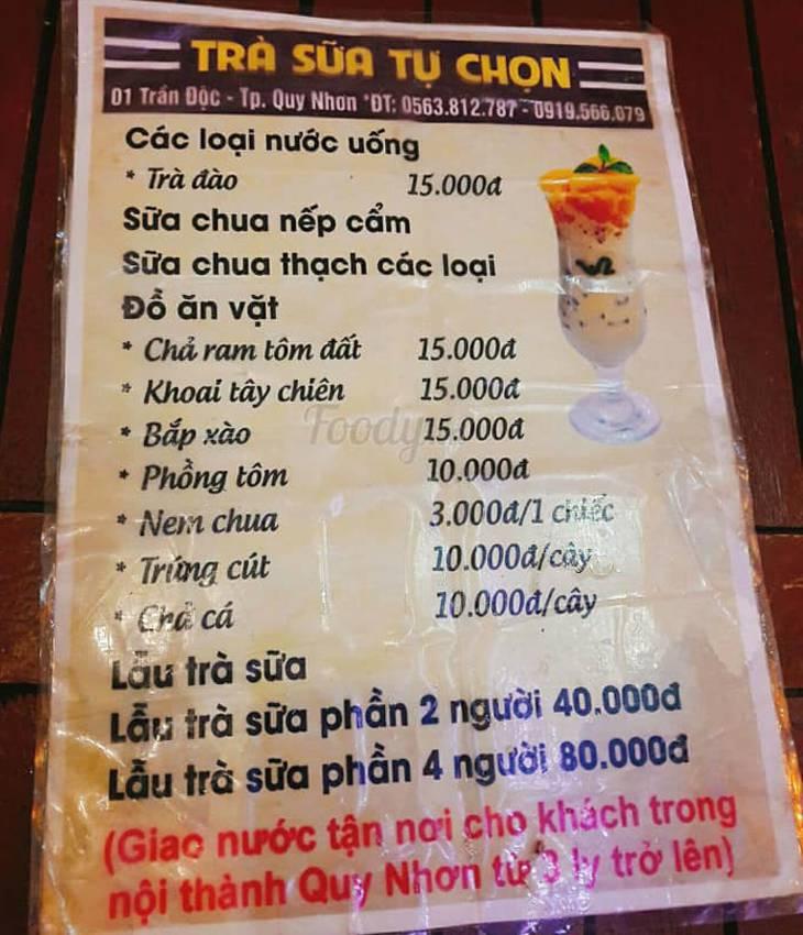 Menu trà sữa 2000 Quy Nhơn rất đa dạng nhưng giá rất phải chăng - ảnh:Foody